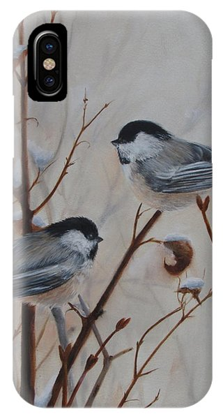 IPhone Case featuring the painting Chickadees by Tammy Taylor