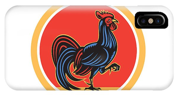 Chicken Rooster Marching Walking Circle Retro Phone Case by Aloysius Patrimonio