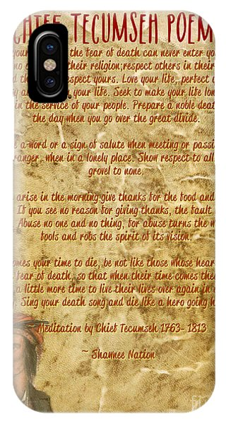 IPhone Case featuring the mixed media Chief Tecumseh Poem - Live Your Life by Celestial Images