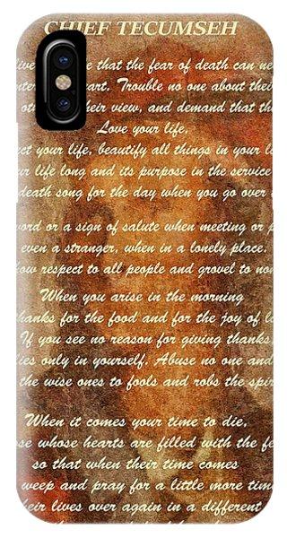 Chief Tecumseh Poem IPhone Case