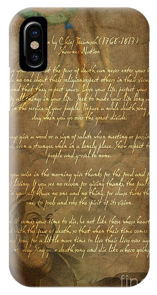 Chief Tecumseh Poem IPhone Case