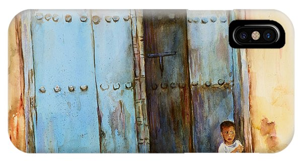 Child Sitting In Old Zanzibar Doorway IPhone Case