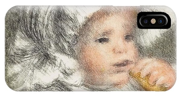 Pastel Pencil iPhone Case - Child With A Biscuit by Pierre Auguste Renoir