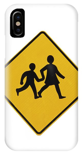 Cutout iPhone Case - Children Crossing Warning Sign, New by David Wall
