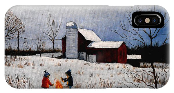 Children Warming Up By The Fire IPhone Case