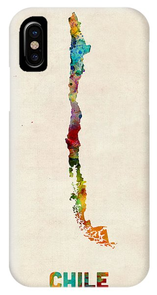Print iPhone Case - Chile Watercolor Map by Michael Tompsett