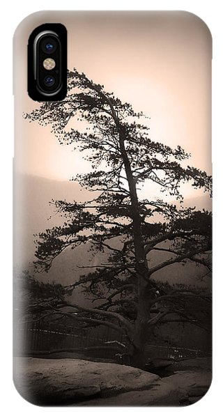 IPhone Case featuring the photograph Chimney Rock Lone Tree In Sepia by Kelly Hazel