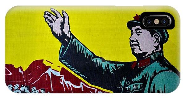 Chinese Communist Propaganda Poster Art With Mao Zedong Shanghai China IPhone Case