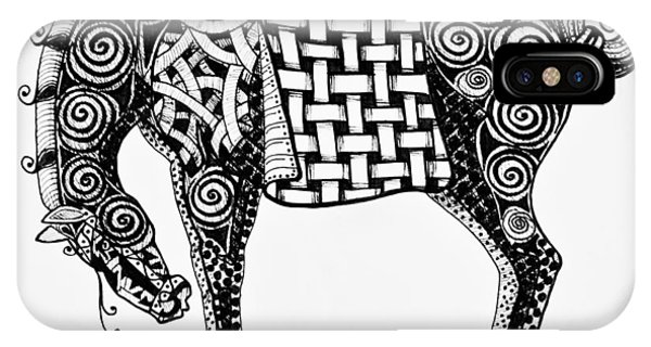 Chinese Horse - Zentangle IPhone Case