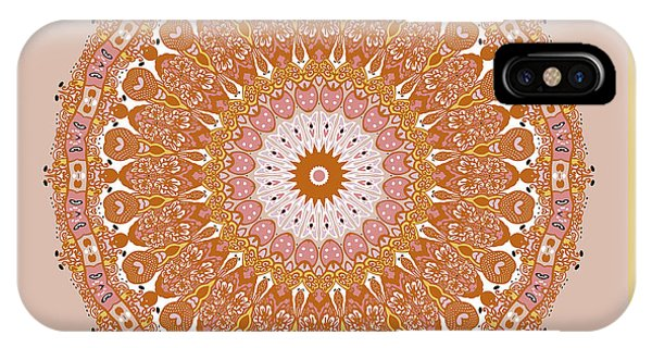 IPhone Case featuring the digital art Chinese Kite Mandala Yellow Orange by Joy McKenzie