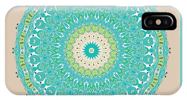 IPhone Case featuring the digital art Chinese Kite Teal Mandala by Joy McKenzie