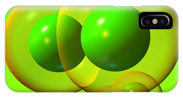IPhone Case featuring the digital art Chlorine Molecule 1 Green by Russell Kightley