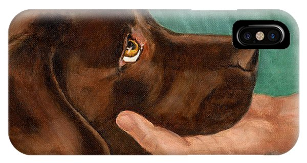 Chocolate Lab Head In Hand IPhone Case