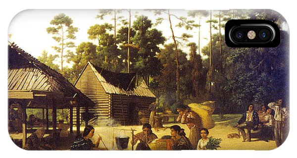 Indian Village iPhone Case - Choctaw Village by George Catlin