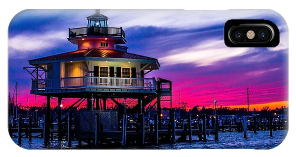 Choptank River Lighthouse At Dusk IPhone Case