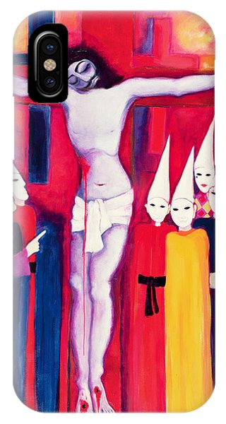 Crucifixion iPhone Case - Christ And The Politicians, 2000 Acrylic On Canvas by Laila Shawa