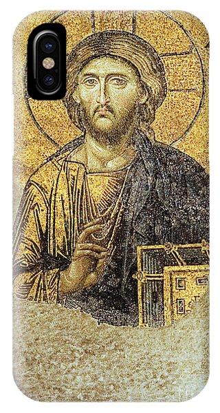 Christ Pantocrator-detail Of Deesis Mosaic Hagia Sophia-judgement Day IPhone Case