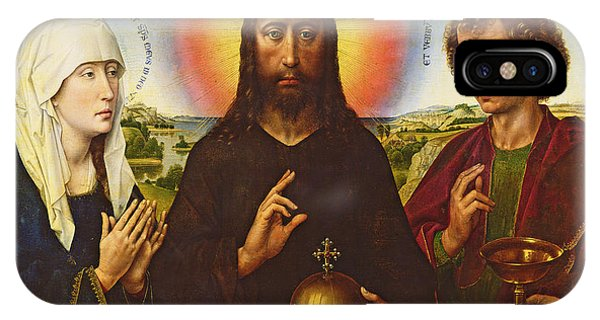 Christ The Redeemer With The Virgin And St. John The Evangelist, Central Panel From The Triptych IPhone Case