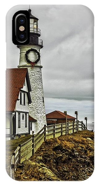 Christmas At Portland Head Light IPhone Case
