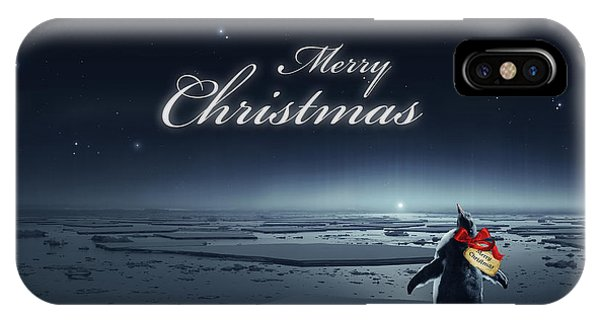 Cassiopeiaart iPhone Case - Christmas Card - Penguin Black by Cassiopeia Art