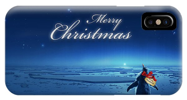 Cassiopeiaart iPhone Case - Christmas Card - Penguin Blue by Cassiopeia Art