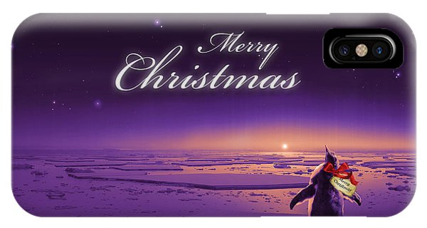 Cassiopeiaart iPhone Case - Christmas Card - Penguin Purple by Cassiopeia Art