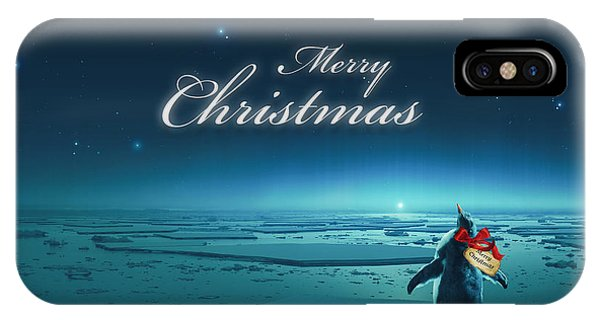 Cassiopeiaart iPhone Case - Christmas Card - Penguin Turquoise by Cassiopeia Art