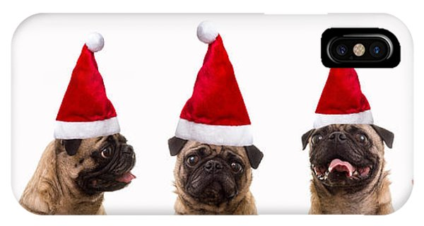 Pug iPhone X Case - Christmas Caroling Dogs by Edward Fielding