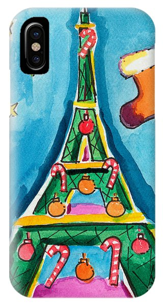 Christmas Eiffel Tower Painting IPhone Case