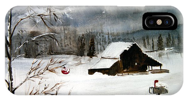 Christmas Farm House IPhone Case