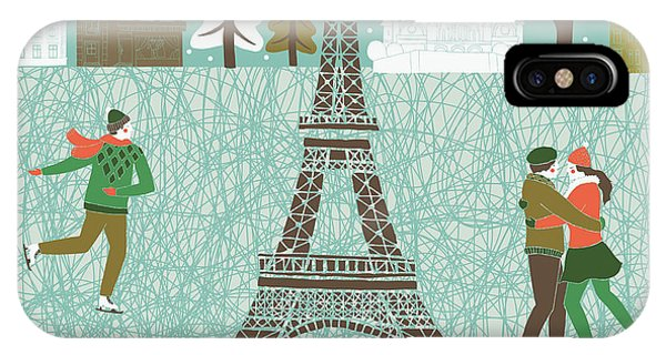 Celebration iPhone Case - Christmas In Paris Print Design by Lavandaart