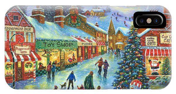 Toy Shop iPhone Case - Christmas On Peppermint Lane by Vickie Wade