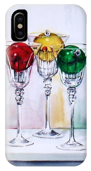 Christmas Ornaments In Wine Glasses IPhone Case