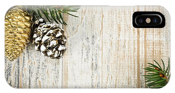 Spruce iPhone Case - Christmas Ornaments With Pine Branches by Elena Elisseeva