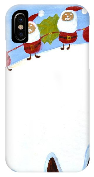 Christmas Pudding And Santas IPhone Case