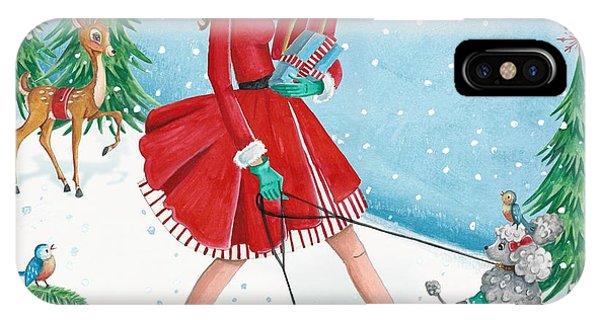 Christmas Shopping Phone Case by Caroline Bonne-Muller