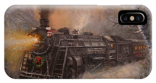 Trains iPhone Case - Christmas Train In Wisconsin by Tom Shropshire