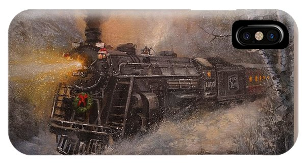 christmas train iphone case christmas train in wisconsin by tom shropshire