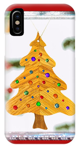 Christmas Tree Art Ornament In Red  IPhone Case