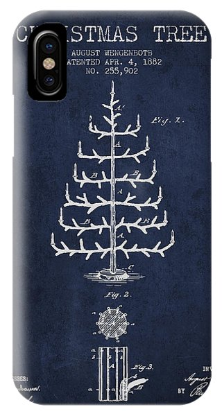 Holiday iPhone Case - Christmas Tree Patent From 1882 - Navy Blue by Aged Pixel