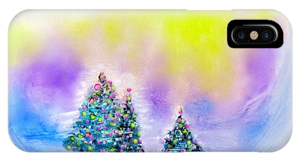 Christmas Trees In The  Valley - Alcohol Inks In Pastel IPhone Case