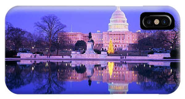Capitol Building iPhone Case - Christmas, Us Capitol, Washington Dc by Panoramic Images