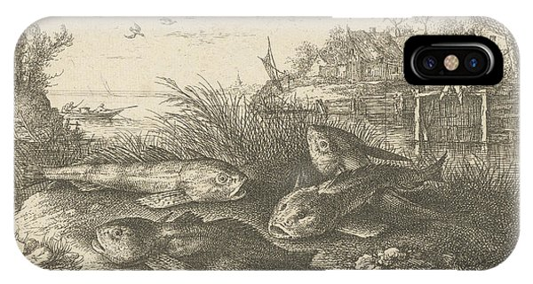 Chub, Squalius Cephalus On A Riverbank, Print Maker Albert Phone Case by Albert Flamen And Jacques Van Merlen