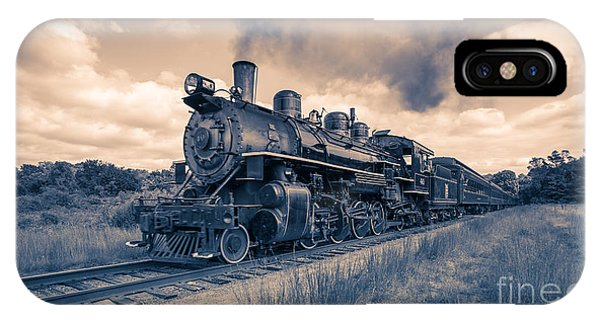 Passenger Train iPhone Case - Full Steam Through The Meadow by Edward Fielding