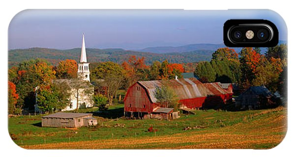 New England Barn iPhone Case - Church And A Barn In A Field, Peacham by Panoramic Images