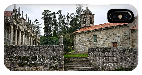 Church And Cemetery In A Small Village In Galicia IPhone Case