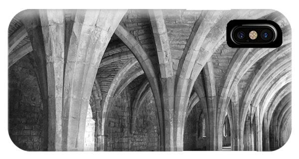 IPhone Case featuring the photograph Church Archways In Black And White by Susan Leonard