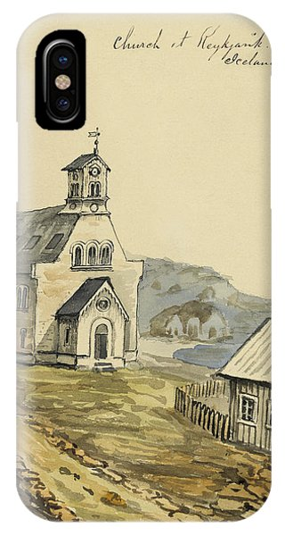 1862 iPhone Case - Church At Rejkjavik Iceland 1862 by Aged Pixel