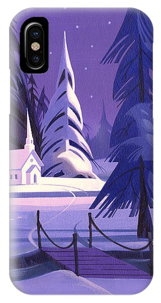 Church In Snow IPhone Case