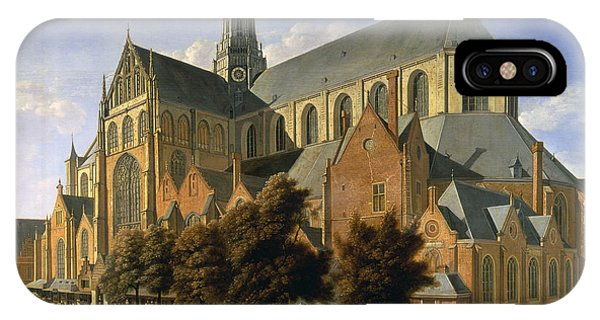 Harlem iPhone Case - Church Of St. Bavo In Haarlem, 1666 Oil On Panel by Gerrit Adriaensz Berckheyde